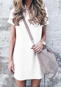 Mini robe poches v-cou sans manches courtes occasionnel blanc