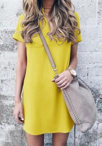 Mini vestido bolsillos v-cuello manga corta casuales amarillo