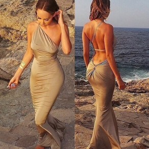Golden Cut Out Ruffle Irregular Bohemian Maxi Dress