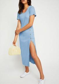 Midi-robe boutons fente sans manches courtes sortir décontracté bleu clair