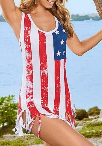 White Striped Fringes Tassel American Flag Independence Day Casual Mini Dress