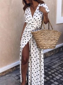 White Polka Dot Slit Sashes Flowy V-neck Country Elegant Bohemian Party Maxi Dress