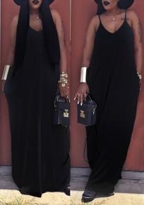 Black Spaghetti Strap V-neck Draped Pockets Beachwer Casual Maxi dress