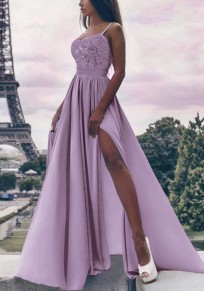 Lila Spitze Drapiert Schlitz Spaghettiträger Elegante Party Maxikleid Abendkleid Festliche Kleid