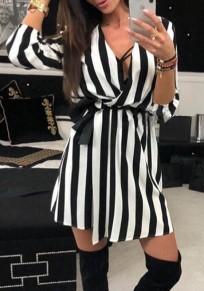 Schwarz Weiße Gestreiften Gürtel V-Ausschnitt Langarm Minikleid Blusenkleid Partykleid