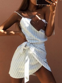 White Striped Print Sashes Spaghetti Strap Off Shoulder Fashion Mini Dress