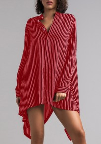 Burgundy Striped Swallowtail Buttons High-Low Casual T-Shirt Mini Dress