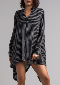 Black Striped Swallowtail Buttons High-Low Casual T-Shirt Mini Dress
