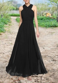 Black Cross Draped Grenadine Banquet High Waisted Backless Elegant Party Chiffon Maxi Dress