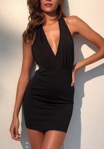 Mini robe unie chaîne à sans manches volantées v-col noir