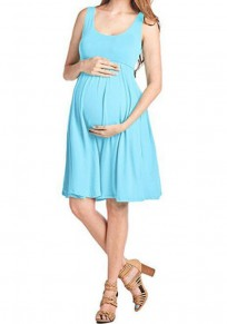 Mint Green Draped High Waisted Shoulder-Strap Pleated Casual Maternity Mini Dress