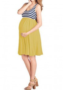Ginger Striped Print Draped High Waisted Shoulder-Strap Pleated Casual Maternity Mini Dress