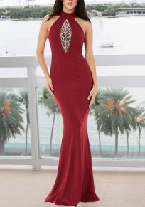 Burgundy Grenadine Beading Draped Backless Bodycon Elegant Formal Party Maxi Dress