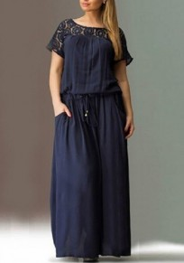 Navy Blue Drawstring Buttons Lace Draped Round Neck Elegant Party Maxi Dress