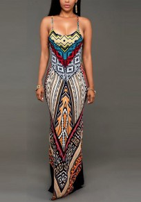 Red Geometric Print Spaghetti Strap U-neck Bohemian Party Maxi Dress
