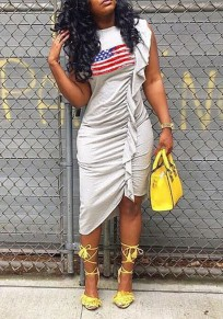 Grey American Flag Print Ruffle Ruched Irregular Independence Day Casual Midi Dress
