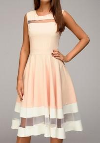 Midi-robe patineuse plissé avec tulle sans manches élégant rose et blanche