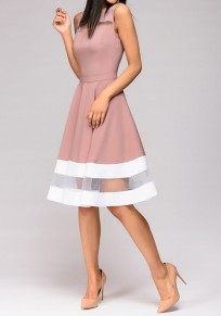 Purple-White Patchwork Grenadine High Waisted Tutu Homecoming Graduation Party Midi Dress