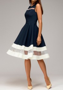 Navy Blue Patchwork Grenadine High Waisted Tutu Homecoming Graduation Party Midi Dress