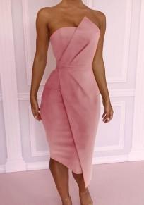 Midi-robe fermeture éclair irrégulière bandeau à bodycon élégante soirée rose