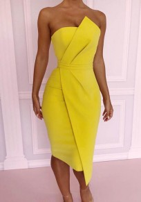 Yellow Zipper Irregular Bandeau Fashion Midi Dress