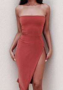 Brick red Irregular Side Slit Off Shoulder Backless Bodycon Fashion Midi Dress