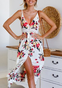 White Floral Print Lace Spaghetti Strap Backless V-neck Sweet Maxi Dress