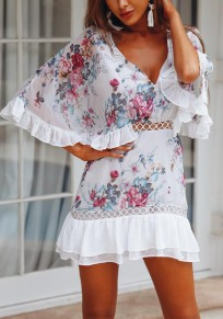 White Floral Print Cut Out Ruffle V-neck Sweet Mini Dress