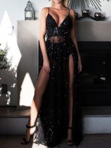 Black Sequin Grenadine Draped Slit Spaghetti Strap Backless Deep V-neck Party Maxi Dress