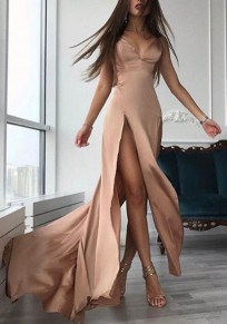 Khaki Draped Side Slit Spaghetti Strap Backless Deep V-neck Party Maxi Dress