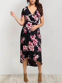 Black Floral Pattern Irregular Sashes High-low Deep V-neck BabyShower Maternity Party Maxi Dress
