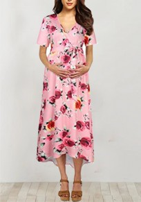 Pink Floral Pattern Irregular Sashes High-low Deep V-neck BabyShower Maternity Party Maxi Dress