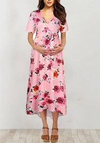 Robe maxi fleuri irrégulière ceintures haut-bas profonde v-cou babyshower fête de maternité rose