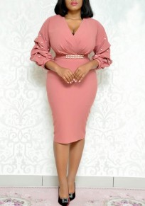 Pink Mosaic Pearl Deep V-neck High Waisted Bodycon Elegant Banquet Party Midi Dress