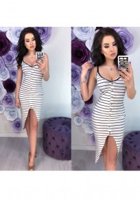 White Striped Single Breasted Cut Out Round Neck Fashion Midi Dress