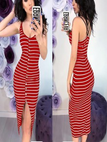 Red Striped Single Breasted Cut Out Round Neck Fashion Midi Dress