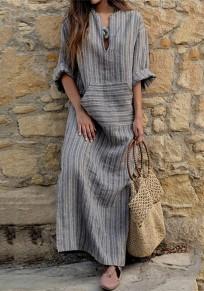 Grey Striped Pockets Plus Size V-neck Muslim Casual Maxi Dress