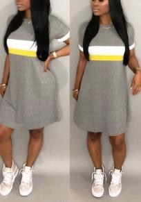 Mini robe bloc de couleur imprimé drapé sans manches courtes décontracté petit ami gris