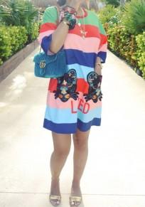 Blue Striped Monogram LOVED Mouse Beading Print Pockets Casual Mini Dress
