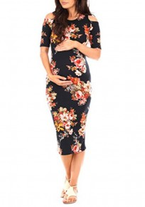 Black Floral Print Cut Out Half Sleeve Maternity Babyshower Elegant Party Midi Dress