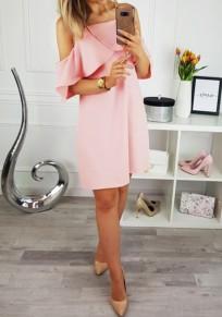 Rosa ausgeschnittene Rüsche Condole Gürtel Mode Mini Dress
