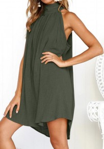 Green Draped Collarless Round Neck Fashion Mini Dress