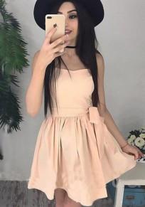 Mini-robe évasée tutu plissé sans manches mode de cocktail khaki