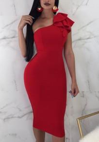 Red Ruffle Asymmetric Shoulder Backless Bodycon Elegant Party Midi Dress