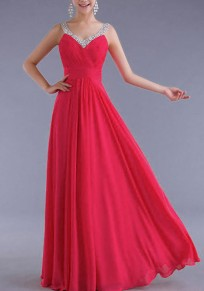 Rose Carmine Rhinestone Draped Shoulder-Strap Backless V-neck Elegant Party Maxi Dress