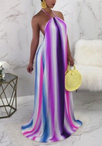 Purple Striped Draped Rainbow Halter Neck Backless Bohemian Beachwear Party Maxi Dress