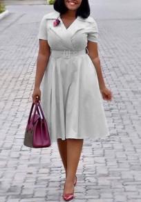 Graue Gürtel gefaltete hoch taillierte Elegante Abschlussfeier Midi-Kleid