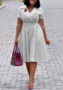 Grey Belt Pleated High Waisted Elegant Graduation Party Midi Dress