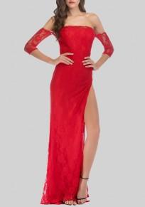 Red Lace Side Slit Off Shoulder Backless Banquet Formal Elegant Party Maxi Dress