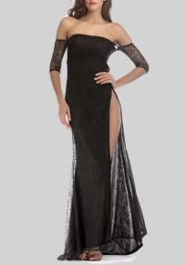Black Lace Side Slit Off Shoulder Backless Banquet Formal Elegant Party Maxi Dress